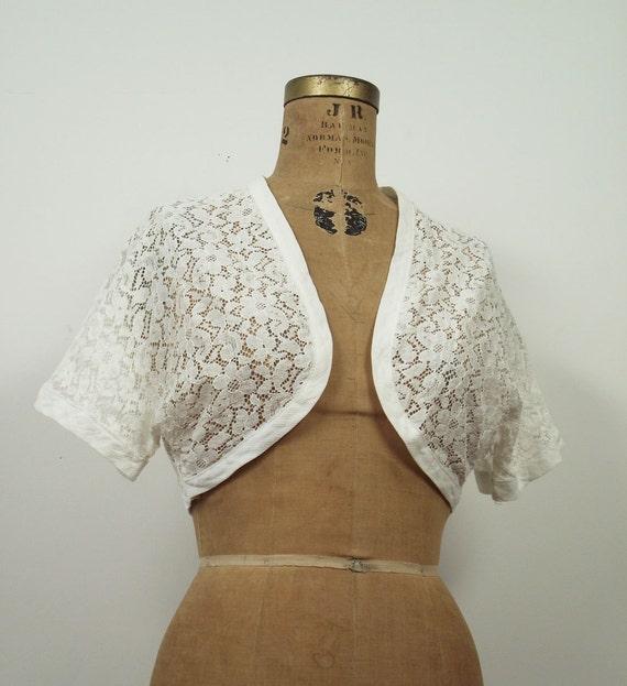 1950s Lace Bolero / 50s White Crop Jacket
