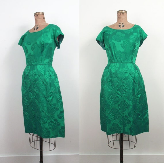 1960s Brocade Party Dress / 60s Green Cocktail Dress