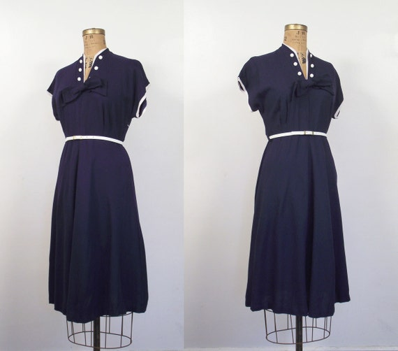 RESERVED 1950s Nautical Day Dress / 50s Navy Bow Dress RESERVED