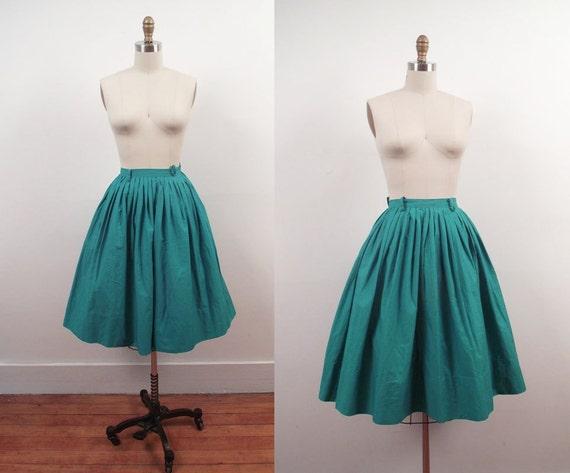 1950s Green Pleated Skirt  / 50s Full Cotton Skirt / Jewel Tone