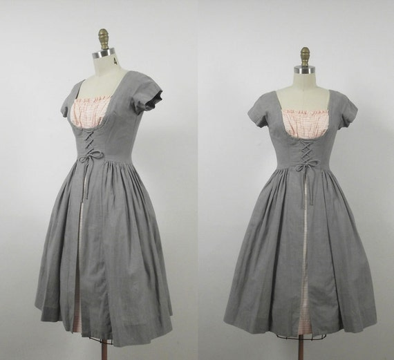 1950s Gray Cotton Day Dress 50s Dirndl Dress Corseted