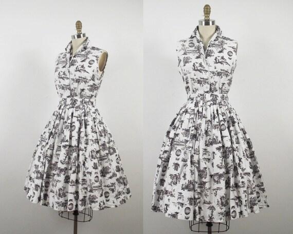 1960s Toile Dress / 60s Cotton Dress Set
