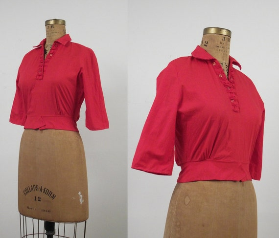 1960s Cotton Blouse / 60s Red Shirt