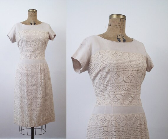 1950s Linen and Lace Wiggle Dress