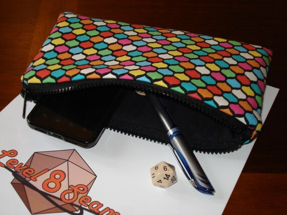 Large Sized Padded Zipper Pouch for Dice Counters Phone or Other Gadgets