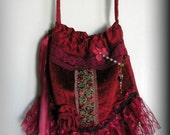 Red Velvet Bag, ruffled lace, drawstring, long crossover strap