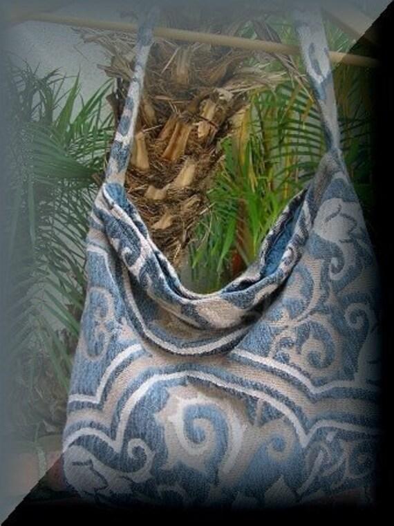 Blue Shoulder Bag, thick sturdy velvet chenille pocket zipper soft slouchy