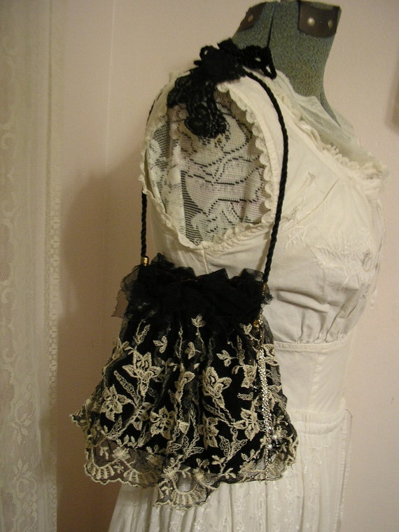 Black Lace Purse, vintage velvet evening bag, lace embellishment altered