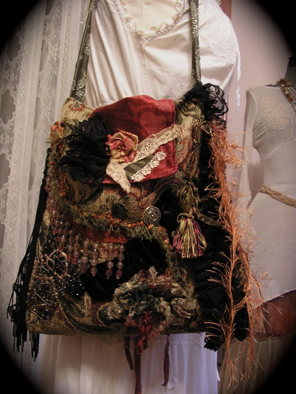Gypsy Carpet Bag Bohemian Black Fringe Beads Buttons Handmade
