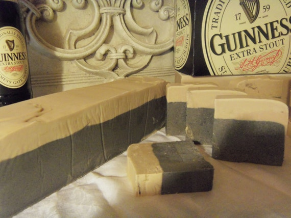 6 Beer Soaps made with Guinness  approx 4oz each Made to look like a pint of Beer with foam head spilling to the side man guy