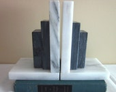 Vintage Marble Bookends, Art Deco Style, Mid Century, Retro