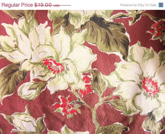 ON CLEARANCE Vintage Barkcloth Fabric, White Magnolias With Tones Green and Red on Brown Background