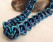 Chain Maille Bracelet Dark Blue Turquoise Barrel Weave