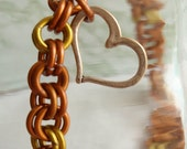 Orange Yellow Chain Maille Anklet Bracelet Heart Charm