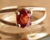 14k Gold Ring Orange Natural Sapphire Mothers Day Promise Birthstone