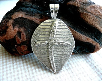 Sterling Cross Pendant Silver Large Shield Cuttlebone Cast Heavy Metal Unique Artisan Made