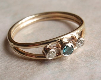 Blue Diamond Ring White Diamond 14k Yellow Gold Ring Hand Made Artisan Made