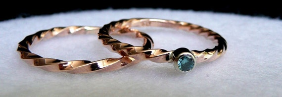 Twisted Rose Gold Wedding Set  Blue Diamond Valentines Day Stacker Promise Birthstone Rings