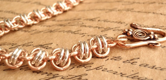 Copper and Sterling Silver Chain Maille Bracelet Barrel Weave