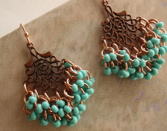 Copper Shaggy Loops Earrings with Turquoise Beads Chain Maille Chandelier