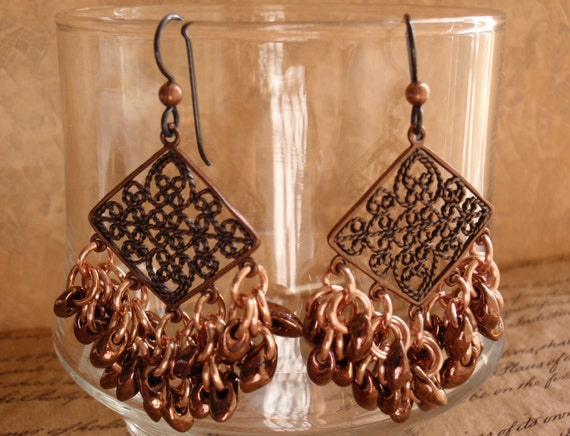 Copper Earrings Copper Magatama Beads Black Niobium Ear Wires Shaggy Loops