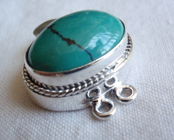 Sterling Silver Box Clasp Turquoise Two Strand Medium