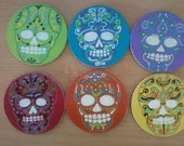 6 Hand Painted Day of the Dead Sugar Skull Coaster Set