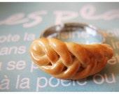 Happy kawaii braided bread polymer clay ring