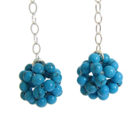Turquoise ball earrings - blue howlite, sterling silver chain, handmade jewelry