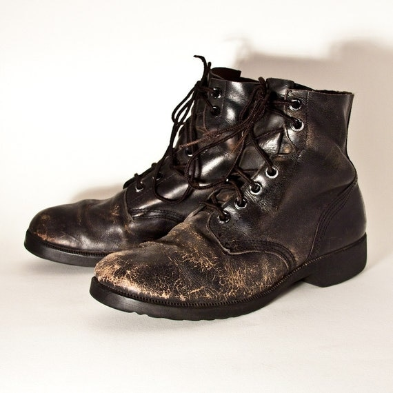 vintage black leather boots s