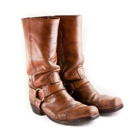 Cowboy Boots Men's Leather Motorcycle Harness Boot