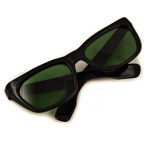 Vintage Sun Glasses 1960's Black with Green Tint