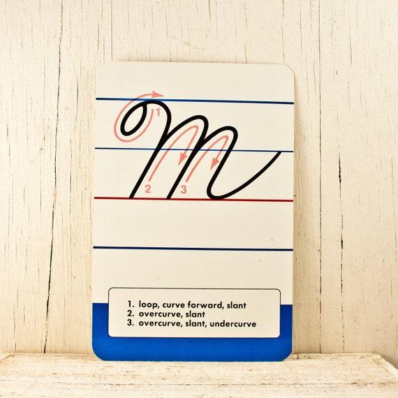 Vintage School Decor Alphabet Cards Letter M