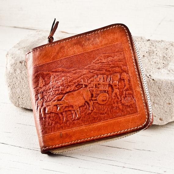 Tooled Leather Wallet Vintage Primitive Rustic Goodmerchants