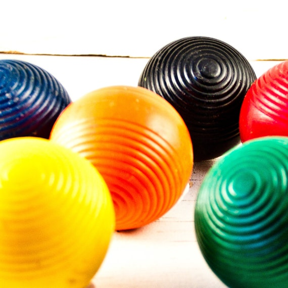 Sale six old croquet balls Bargains Sales Clearance December Winter Holiday Christmas Gifts Presents Goodmerchants
