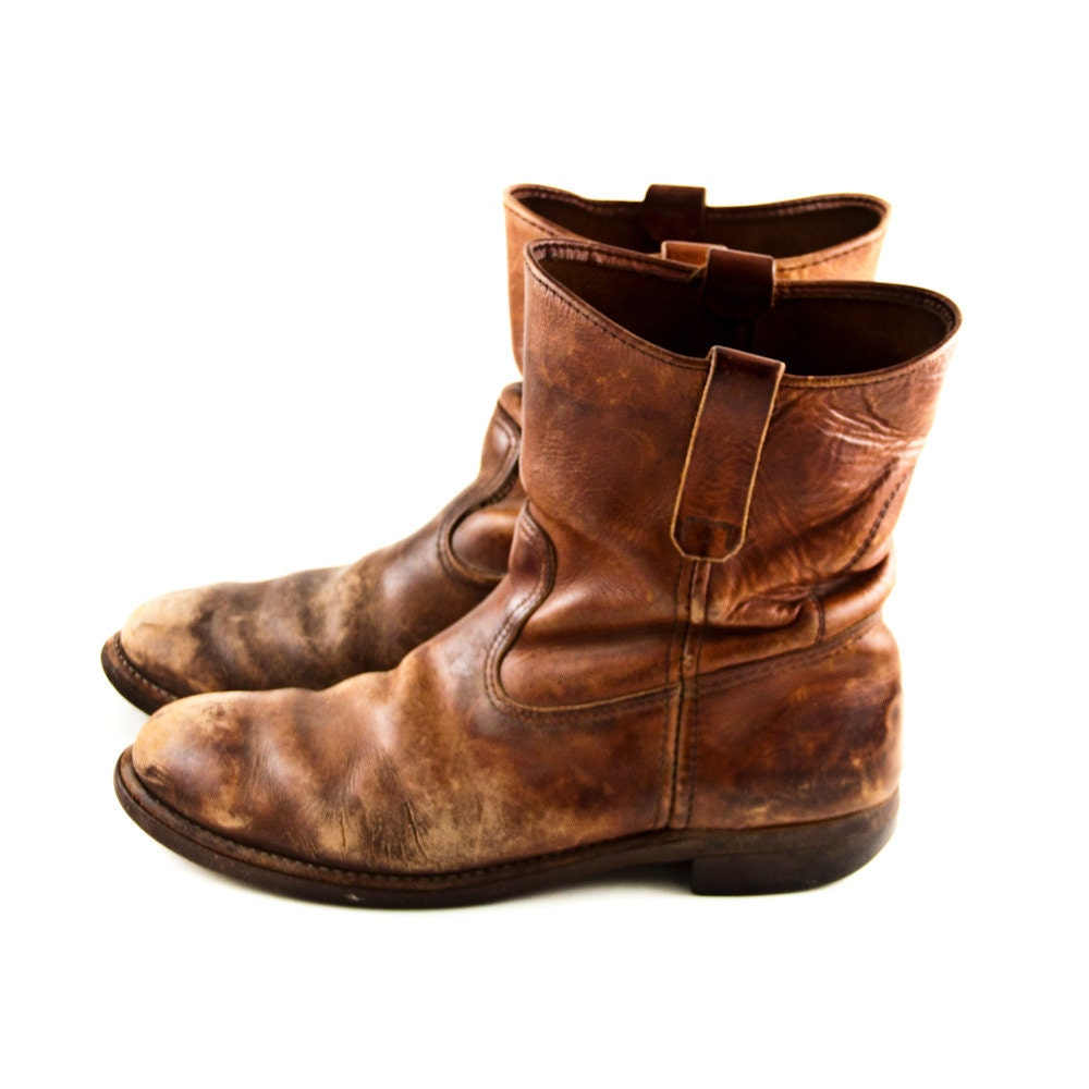 vintage leather boots s rustic distressed worn