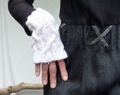 Roots Warmers, hand knitted fingerless gloves, pure white