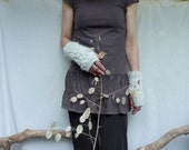 Cloud Warmers, hand knitted white bobbly fingerless gloves