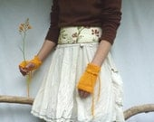 Sunshine Cuffs, hand knitted in pure cotton