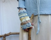 Sand and Sea Warmers, hand knitted fingerless gloves in super-soft chunky yarn, READY TO SHIP