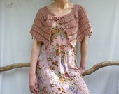 Dreamer Capelet, hand knitted in dusky pink pure wool with glass bead edging