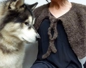 Wolf in Sheep's Clothing Capelet, hand knitted in Nomad wool and alpaca mix yarn, MADE TO ORDER
