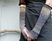 Storm Gauntlets, hand knitted fingerless cable gloves, brown and blue wool-mix yarn, READY TO SHIP