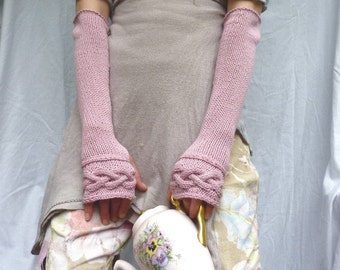 Celtic Rose Gauntlets, pale pastel pink eco organic cotton hand knitted fingerless gloves