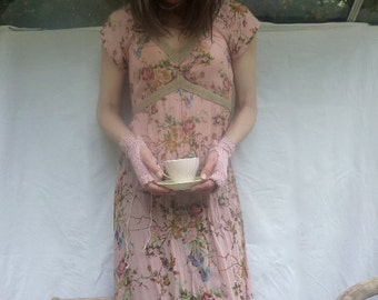 Dusky Rose Cuffs, hand knitted in pale pink organic cotton