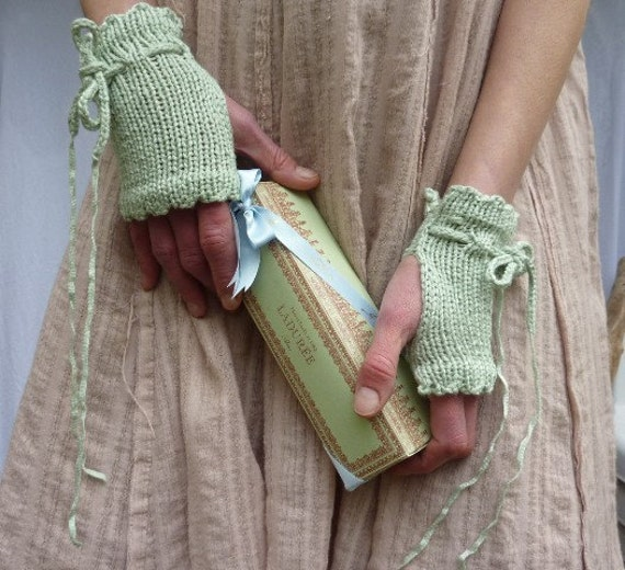 Picnic Etiquette Cuffs, hand knitted fingerless gloves in mint bamboo tape, READY TO SHIP