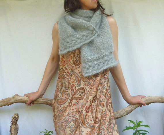 Celtic Song Scarf, silver gray, mohair - Reserved