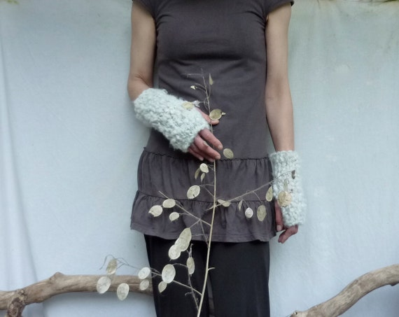 Cloud Warmers, hand knitted white bobbly fingerless gloves, READY TO SHIP
