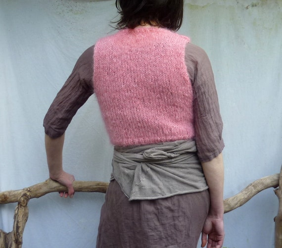 Shock Bodice, hand knitted in bubblegum pink mohair