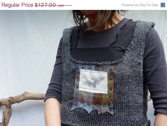 Lightning Strike SALE Moth Bodice, handknitted with moth icon and Harris Tweed plaid, gray, size L - XL